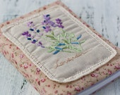 Unique handmade journal (notebook) with cotton cover and embroidered image of lavender