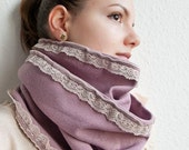 Lavender and Lace - Soft Lilac Jersey Knit Cowl Loop Circle Scarf Romantic Pastel Neckwarmer Free Shipping - BalloonHighway