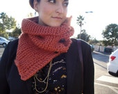 Warm and Chunky knitted cowl/scarf with 4 buttons - Color is Pumpkin