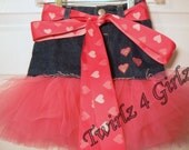 Denim Tutu Skirt with irredescent heart appliques and reversible pink heart ribbon