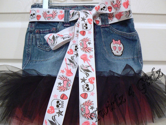 She's a Lil Rocker - Denim Tutu Skirt with two tone tulle, girly skull appique and rock & skull ribbon