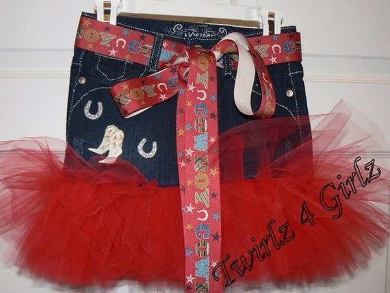 Little Cowgirl Denim Tutu Skirt with cowboy boots and horseshoe appliques and cowboy ribbon