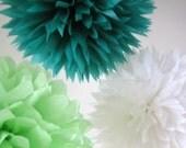 Tissue Paper Pom Poms - Green With Envy - Set of 3 - Weddings - Christenings - Birthdays - Dessert Table - Prom Party