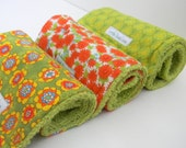 Set of 3 girl burp cloths: orange and green - littleoneslove