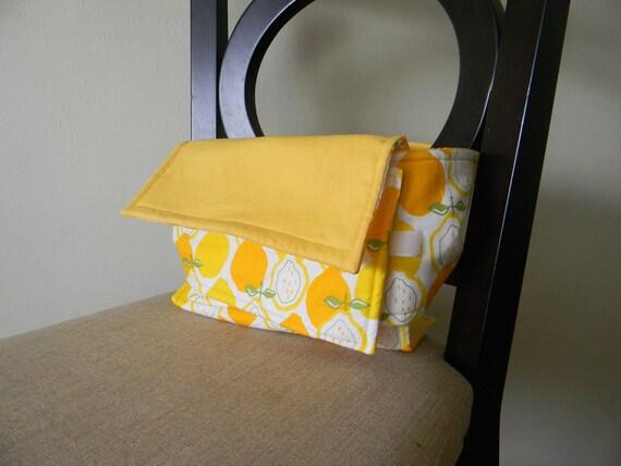 Fabric travel high chair -yellow lemons