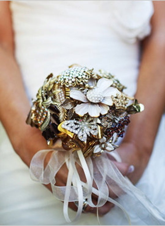 "Brooch Bouquet ""Cute Little Redhead"" Using Vintage Brooches"