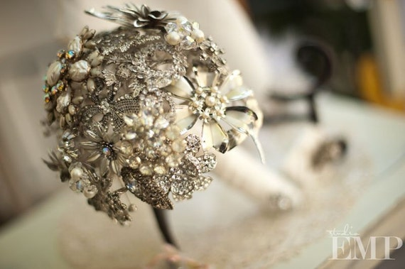 Brooch Bouquet, Custom order using Vintage Rhinestone Brooches