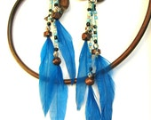 Feather Jewelry - Feather Earrings - Beaded Feather - Blue Feather