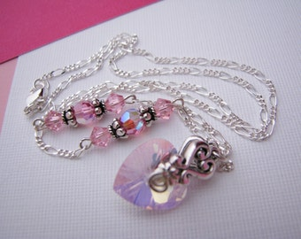 Valentine Jewelry, Pink Heart, Valentine Necklace, Crystal Heart Necklace, Store Closing, Liquidation Sale, Amazing Low Prices