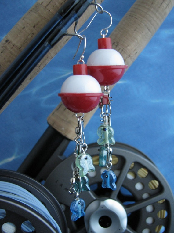 Fish Bobber Earrings - Fish Jewelry - Fishing Jewelry - Unique Earrings - Fishing Tackle