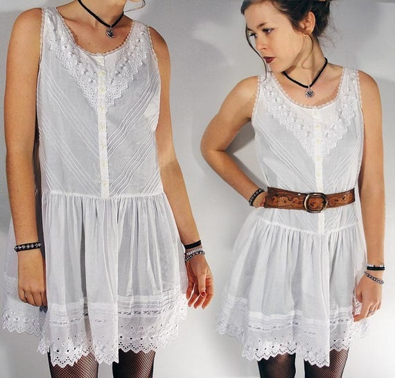 Vintage LACE cutout Dress with Broderie Anglaise Lace