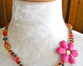 Hot Pink, Orange and Navy Handmade Vintage Flower, Crystal, Dyed Jade and Brass Necklace