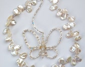Bridal Creamy White Handmade Butterfly Keishi Pearl & Crystal Necklace