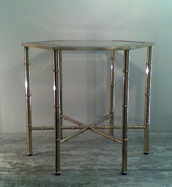 Pair of Old Brass Tables