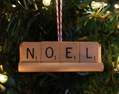 Happy Holiday Christmas Tree Ornament:  Upcycled Scrabble Pieces (Noel)