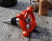 Wine Bottle Stopper from Upcycled Garden Faucet Valve Handle in Orange
