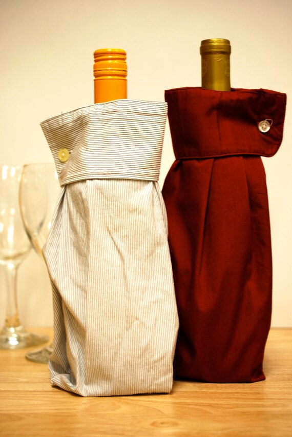 2 Upcycled Men's Dress Shirt Wine Sleeve Gift Bags: Give Your Right (and Left) Arm