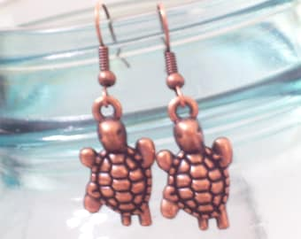 Antiqued Copper Turtle Earrings