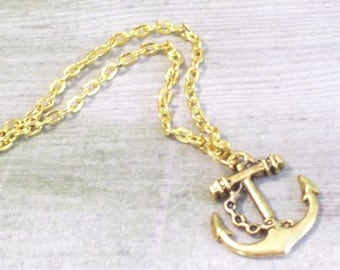 Antiqued Gold Plated Ship Anchor Pendant Necklace