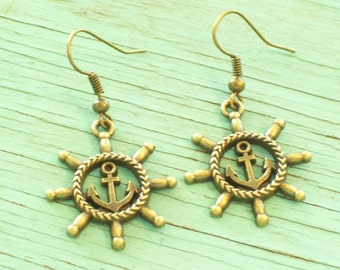 Antiqued Brass Ship Wheel and Anchor Earrings