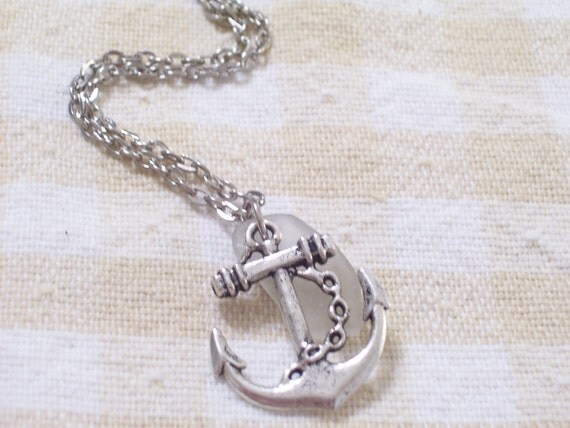 Antiqued Silver Ship Anchor and Frosted White Sea Glass Necklace
