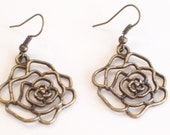 Antiqued Brass Flower Pierced Dangle Earrings - LoveLockets