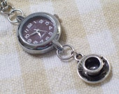 Coffee Time Watch and Antiqued Silver 3D Coffee  Cup and Saucer Pendant Necklace