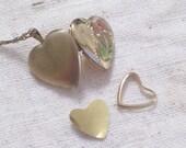 Gold Filled Locket, Vintage Etched Floral Enamel Gold Filled Heart Locket Necklace, Vintage Heart Locket, Floral Heart Pendant