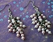 Pink, White, Silver Pearl Beaded Dangle Earrings