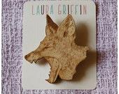 Limited Edition Laser Cut Wooden Yawning Fox Brooch
