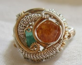 Spessartine Garnet and Colombian Emerald Wire Wrap Ring