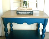 Side Table -  ON SALE - Blue Green and Gold