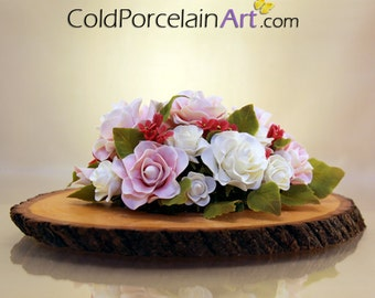 Pale Roses Centerpiece - Cold Porcelain Art - Made to Order