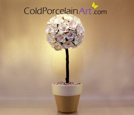 White Roses Topiary - Cold Porcelain Art - Made to Order