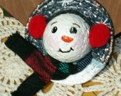 Snowman Pin with Earmuffs and Scarf