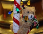 Candy Cane Bear Tangled in Christmas Lights Ornament