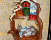 Hand Painted Bird House Design Wood Ornament with Candy Bowl
