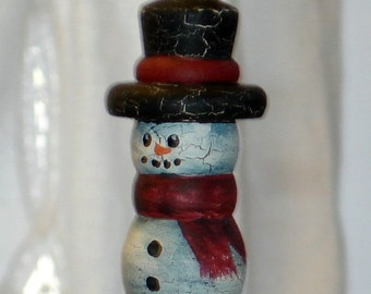 Primitive Wood Snowman Mr. Snow