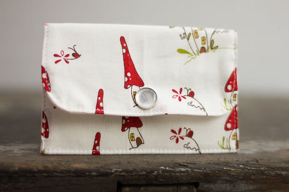 Fabric Wallet, Card Case, Gift Card Holder, Whimsical Mushroom Fabric