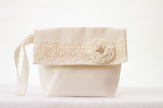 Bridal Wedding Clutch Wristlet Cream and Ivory Lace Floral Rosette and Rhinestone