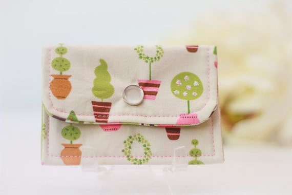Gift Card, Business Card Case, Credit Card Holder, Pink, Green, Cream, Brown Fabric Topiary