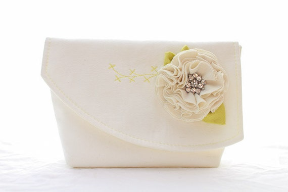 Bridal Wedding Clutch Embroidered with Fabric Rosette Flower and Rhinestone