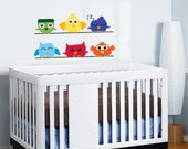 Kids set of 6 birds on a line you can use along a crib/bed vinyl wall decal