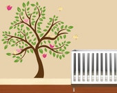 "Kids childrens tree vinyl wall decal with 10   birds and leaves 84"" tall"