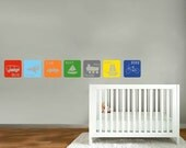 Children's decals -  Transportation decals -  Squares set of 7 vinyl wall decal