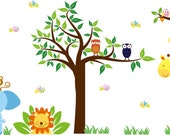 childrens vinyl wall decal Tree tree branch Elephant Giraffe Monkey Lion Birds owls and grass