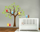 childrens removable vinyl wall decal Tree with owls and a set of 4 owls for FREE