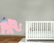 kids vinyl wall decal Elephant with turtle and bird on his back  great for nursery or kids room