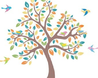 ON SALE Kids tree vinyl wall decal with 9 birds