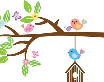 Kids tree branch vinyl wall decal with daisy and birds and butterfly